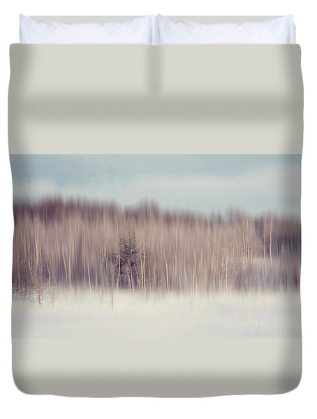 Pearly Winter. Impressionism Duvet Cover by Jenny Rainbow