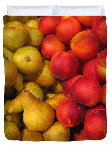 Pears And Peaches. Fresh Market Series Duvet Cover by Ausra Huntington nee Paulauskaite