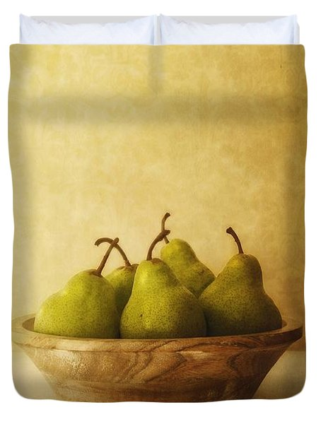 Pears In A Wooden Bowl Duvet Cover by Priska Wettstein