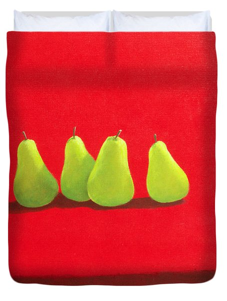 Pears On Red Cloth Duvet Cover by Lincoln Seligman
