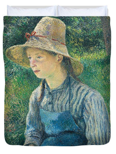 Peasant Girl With A Straw Hat Duvet Cover by Camille Pissarro