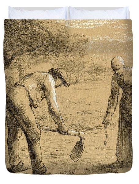 Peasants Planting Potatoes  Duvet Cover
