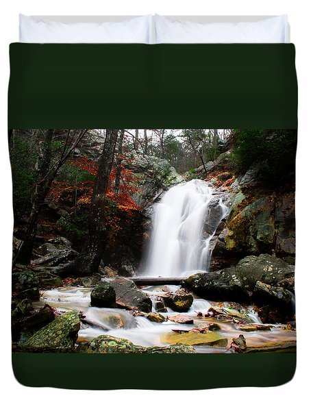 Peavine Falls In Autumn Duvet Cover by Shelby  Young