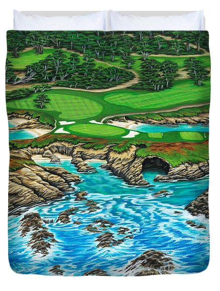 Duvet Cover featuring the painting Pebble Beach 15th Hole-north by Jane Girardot