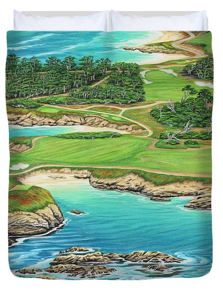 Duvet Cover featuring the painting Pebble Beach 15th Hole-south by Jane Girardot