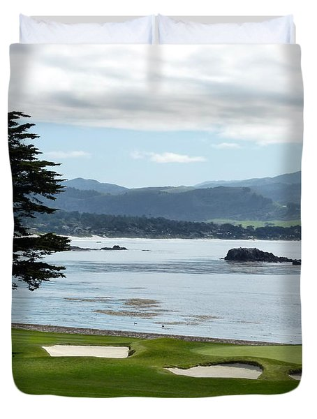 Pebble Beach 18th Green Carmel  Duvet Cover