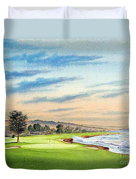 Pebble Beach Golf Course 18th Hole Duvet Cover by Bill Holkham