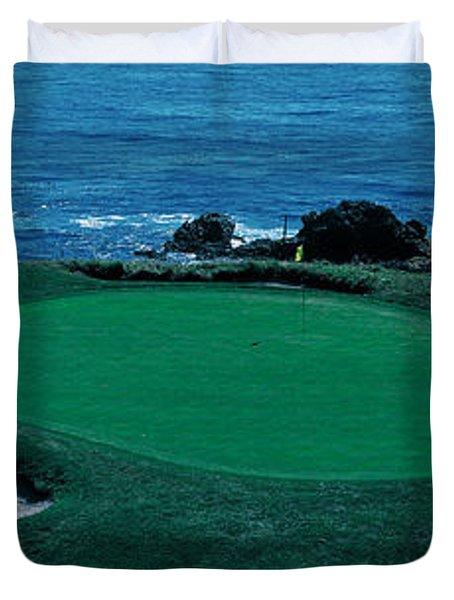 Pebble Beach Golf Course 8th Green Duvet Cover