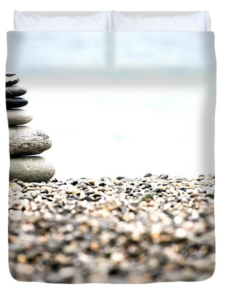 Pebble Stone On Beach Duvet Cover
