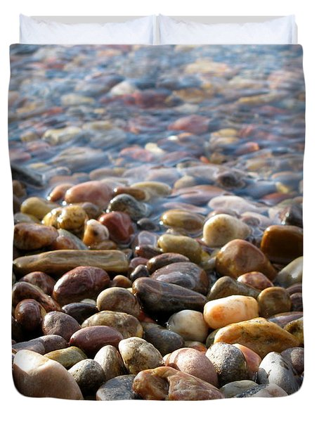 Pebbles On The Shore Duvet Cover by Leone Lund