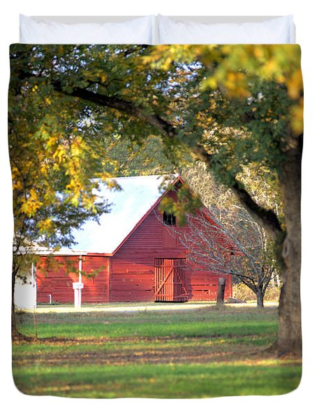 Duvet Cover featuring the photograph Pecan Orchard Barn by Gordon Elwell