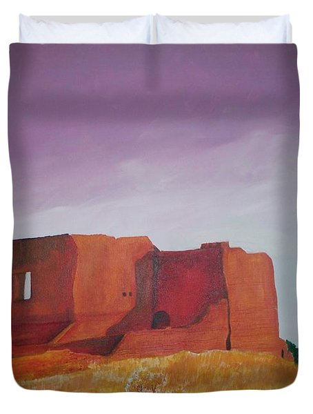 Duvet Cover featuring the painting Pecos Mission Landscape by Eric  Schiabor