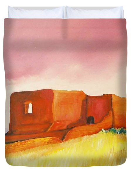 Duvet Cover featuring the painting Pecos Mission Nm by Eric  Schiabor