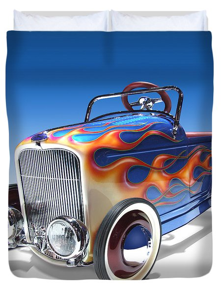 Duvet Cover featuring the photograph Peddle Car by Mike McGlothlen