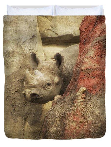 Peek A Boo Rhino Duvet Cover by Thomas Woolworth