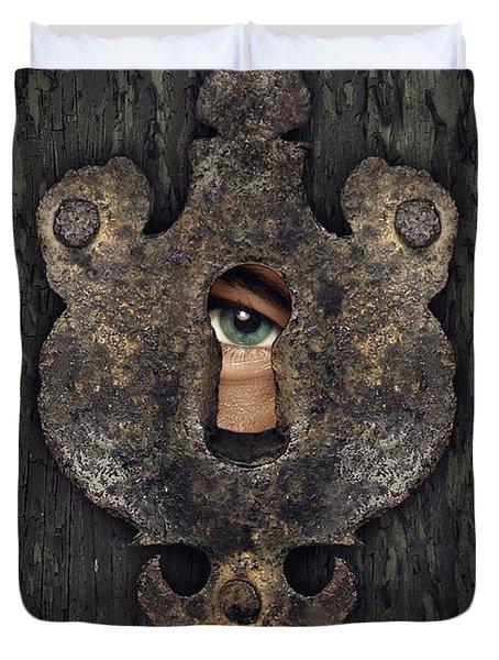 Peeking Eye Duvet Cover by Carlos Caetano