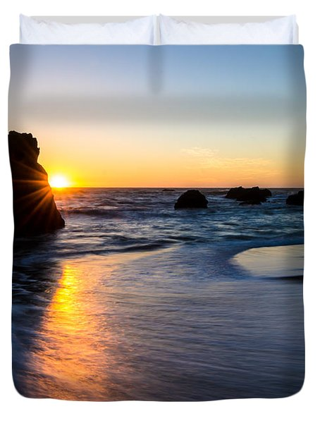 Duvet Cover featuring the photograph Peeking Sun by CML Brown