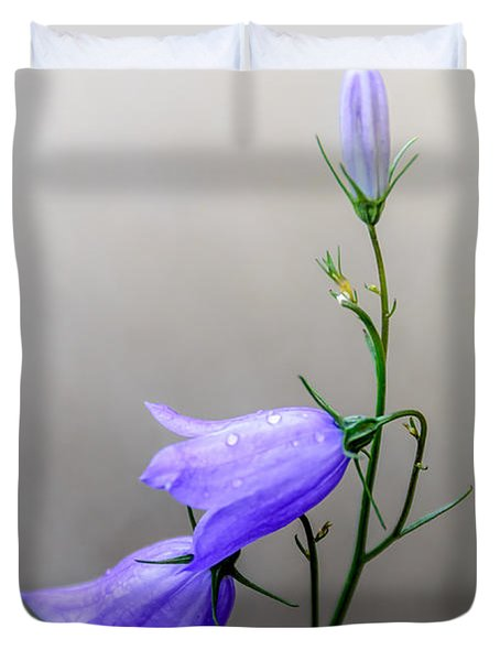 Blue Bells Peeking Through The Mist Duvet Cover