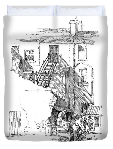 Duvet Cover featuring the drawing Peel Back Street by Paul Davenport