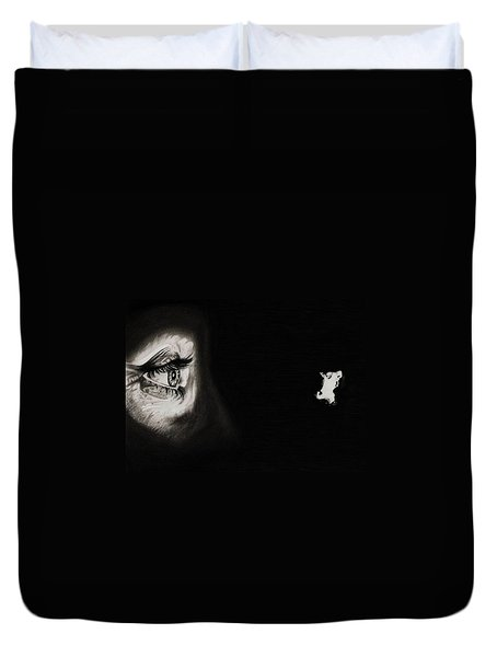 Peeping Tom - Psycho Duvet Cover by Fred Larucci