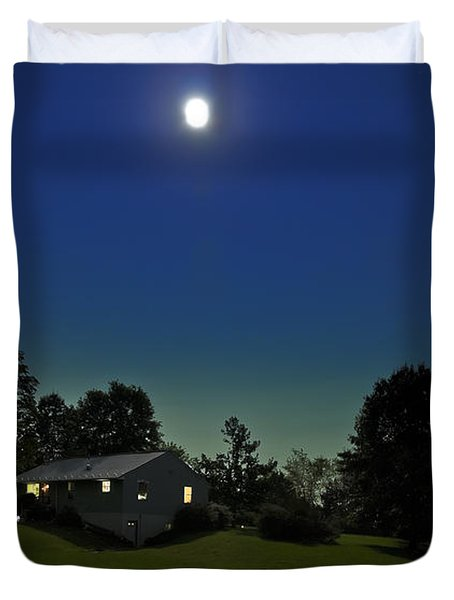 Duvet Cover featuring the photograph Pegasus And Moon by Greg Reed