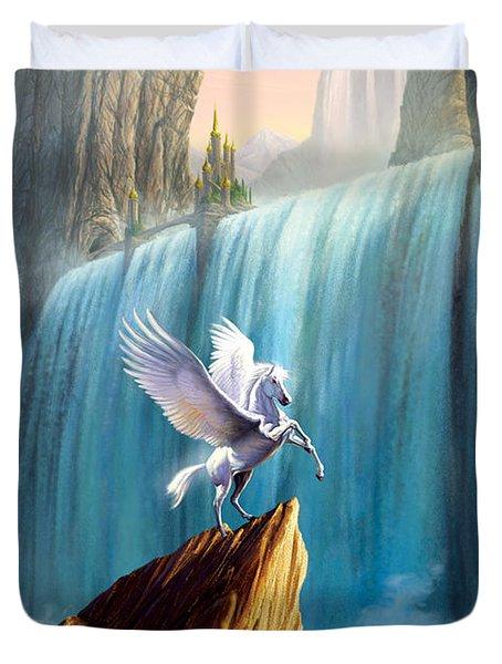 Pegasus Kingdom Duvet Cover by Garry Walton