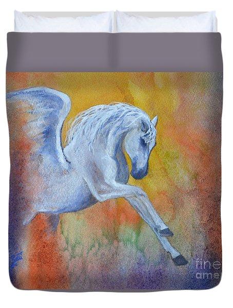 Duvet Cover featuring the painting Pegasus by Suzette Kallen