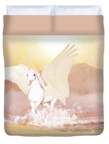 Duvet Cover featuring the painting Pegasus   by Valerie Anne Kelly