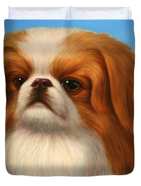 Pekingese Duvet Cover by James W Johnson