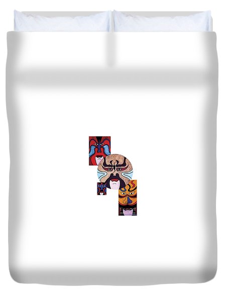 Duvet Cover featuring the painting Pekingopera No.2 by Fei A