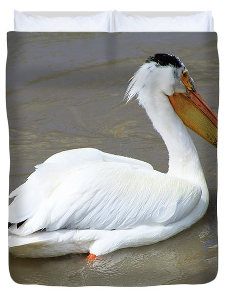 Duvet Cover featuring the photograph Pelecanus Eerythrorhynchos by Alyce Taylor