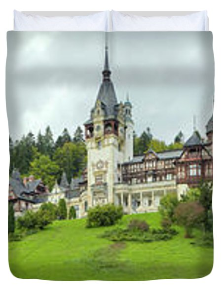 Peles Castle In The Carpathian Duvet Cover