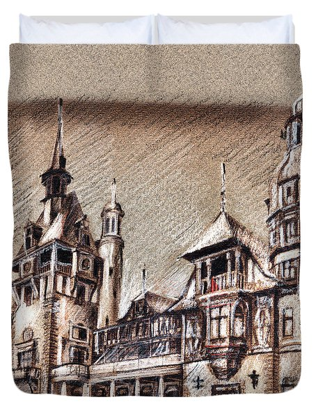 Peles Castle Romania Drawing Duvet Cover