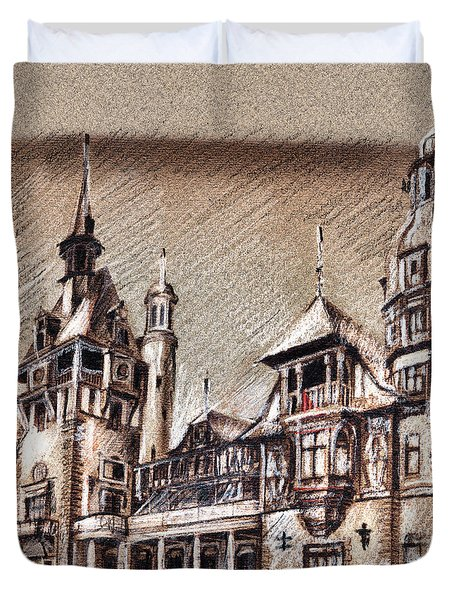Peles Castle Romania Drawing Duvet Cover