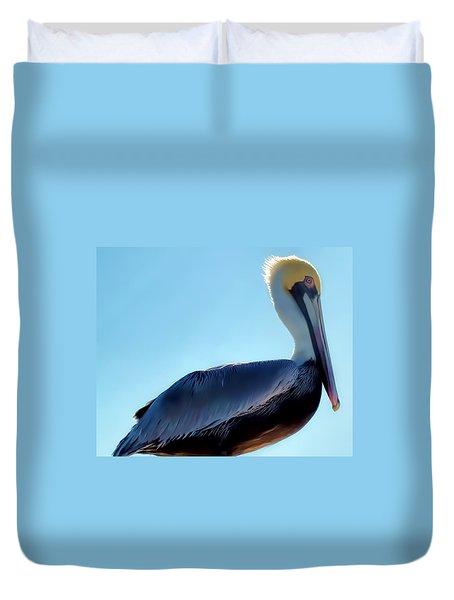 Duvet Cover featuring the photograph Pelican 1 by Dawn Eshelman