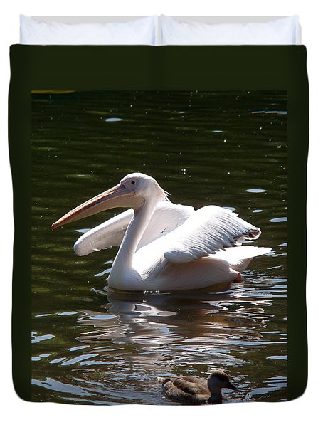 Pelican And Friend Duvet Cover
