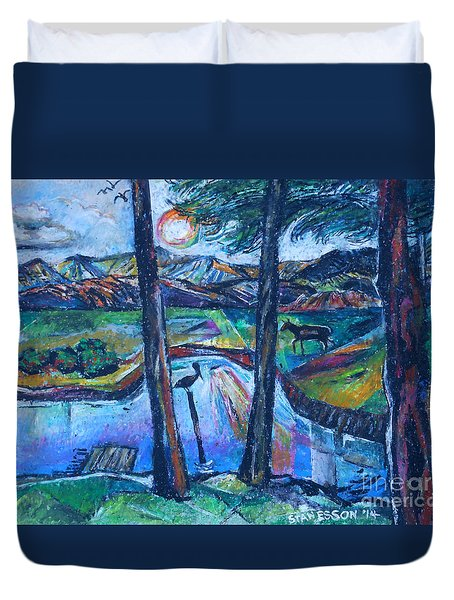 Duvet Cover featuring the painting Pelican And Moose In Landscape by Stan Esson