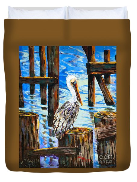 Pelican And Pilings Duvet Cover