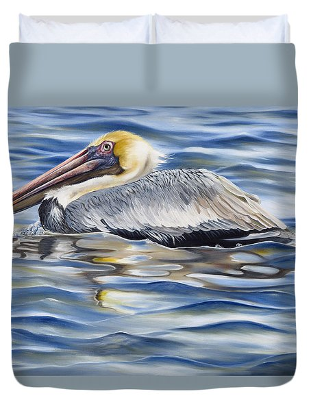 Pelican At Cedar Point Duvet Cover by Phyllis Beiser