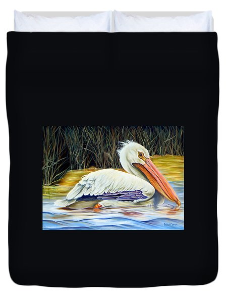 Duvet Cover featuring the painting Pelican At East Pearl by Phyllis Beiser