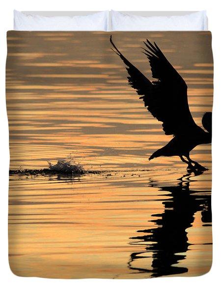 Pelican At Sunrise Duvet Cover