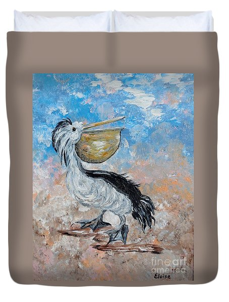 Duvet Cover featuring the painting Pelican Beach Walk - Impressionist by Eloise Schneider