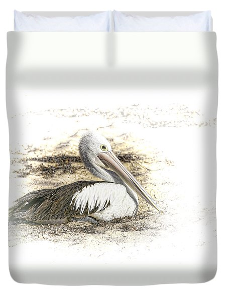 Duvet Cover featuring the photograph Pelican by Holly Kempe
