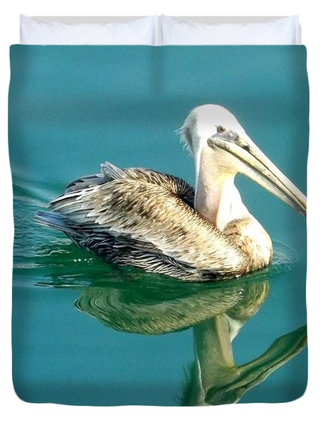 Pelican In San Francisco Bay Duvet Cover by Clare Bevan