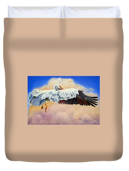 Duvet Cover featuring the painting Pelican In The Clouds by Phyllis Beiser