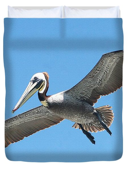 Duvet Cover featuring the photograph Pelican Landing On  Pier by Tom Janca