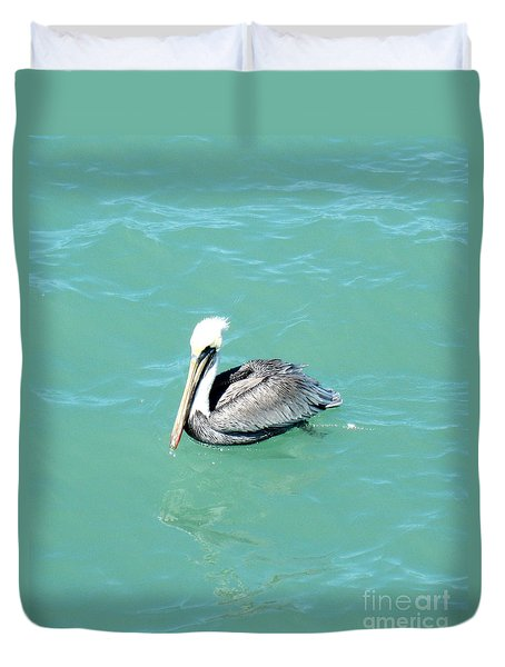 Duvet Cover featuring the photograph Pelican by Oksana Semenchenko
