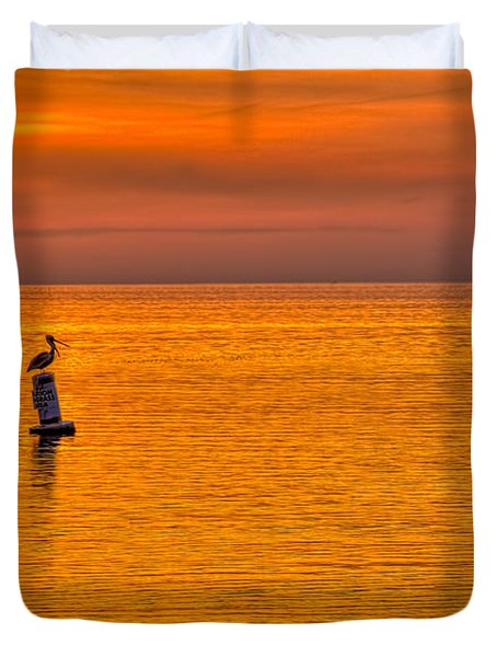 Pelican On A Buoy Duvet Cover by Marvin Spates