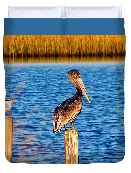 Pelican On A Pole Duvet Cover