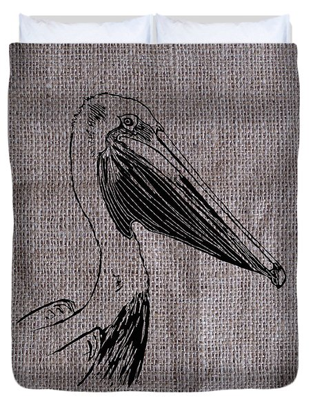 Pelican On Burlap Duvet Cover